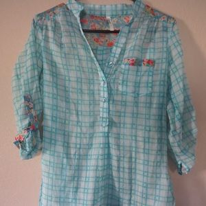 Sheer blue floral flannel button up shirt